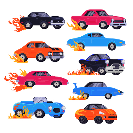 Muscle car vector racing speedcar on a track and retro race auto driving on rally sport event formula automobile illustration set of fast speed vehicle with fire isolated on white background. Illustration