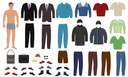 Man clothing vector cartoon boy character dress up clothes with fashion pants or shoes illustration boyish set of male cloth for cutting cap or T-short isolated on white background. Vettoriali