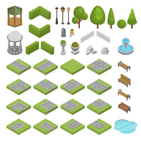Parco parco isometrico di vettore del parco con erba verde degli alberi del giardino e stagno della fontana del banco nell'insieme dell'illustrazione della città di strada panoramica nel paesaggio urbano o paesaggio isolato su priorità bassa bianca. Vettoriali