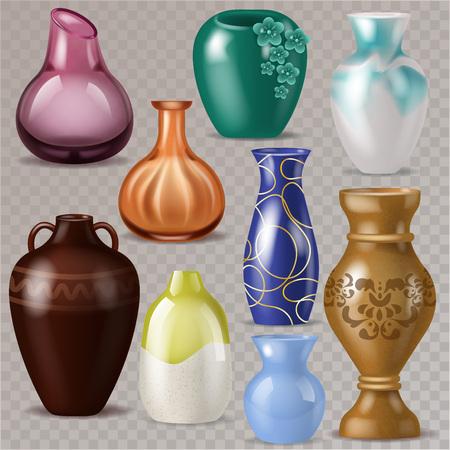 Vase vector decorative classic pot and decor modern pottery elegance vases illustration set of ceramic beautiful glass jar isolated on transparent background.
