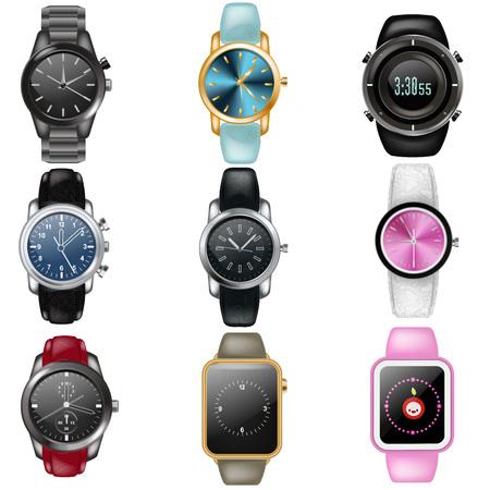 Regardez la montre-bracelet d'affaires vectorielles ou l'horloge-bracelet de mode avec un mécanisme d'horlogerie et un cadran d'horloge cadencés dans l'ensemble d'illustrations de temps de la minuterie d'alarme de synchronisation moderne isolée sur fond blanc.
