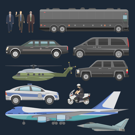 Avión de auto presidencial de vector de coche de gobierno y transporte de negocios de lujo con conjunto de ilustración de coche de policía de vehículo de autobús de transporte y motocicleta con presidente aislado sobre fondo. Ilustración de vector