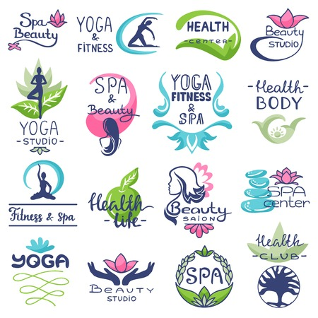 Spa logo vector beauty spa-center logotype lettering design with flower or leaf symbol illustration natural set of floral health care yoga sign isolated on white background 向量圖像