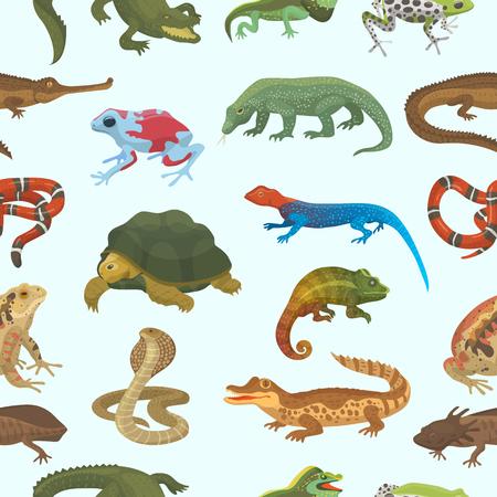 Vector rettile lucertola animale fauna selvatica camaleonte selvatico, serpente, tartaruga, coccodrillo illustrazione di rettile isolato su sfondo bianco anfibio verde. Vettoriali
