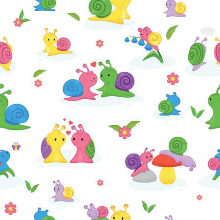 Snail vector snail-shaped character with shell and cartoon snailfish or snail-like mollusk kids illustration set of lovely couple of snail-paced slugs isolated on white background