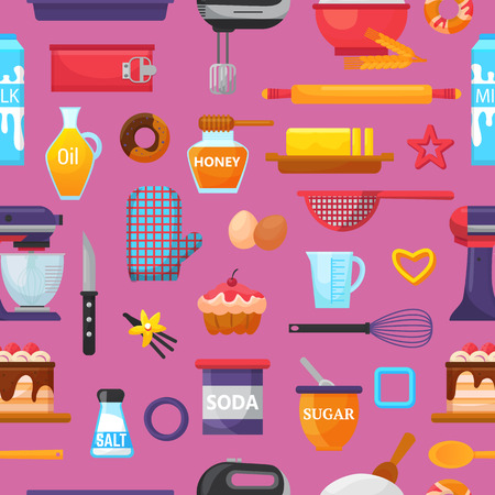 Baking vector kitchenware and food bakery ingredients for cake illustration caking set of cooking cupcake or pie with cookware in kitchen isolated background