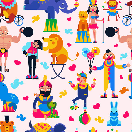Circus people vector acrobat or clown and trained animals characters in circus-tent illustration set of magician and circusman with lion or elephant isolated background.