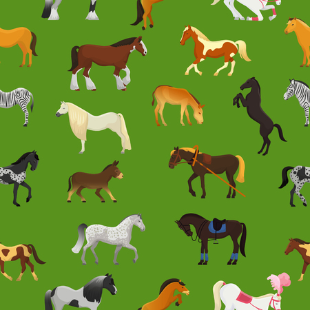 Cartoon horse vector cute animal of horse-breeding or equestrian and horsey or equine stallion illustration animalistic horsy set of pony zebra character isolated background.