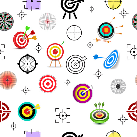 Target icon vector arrow in aim of dartboard and goal of success business strategy illustration set of sport darts game isolated on white background.