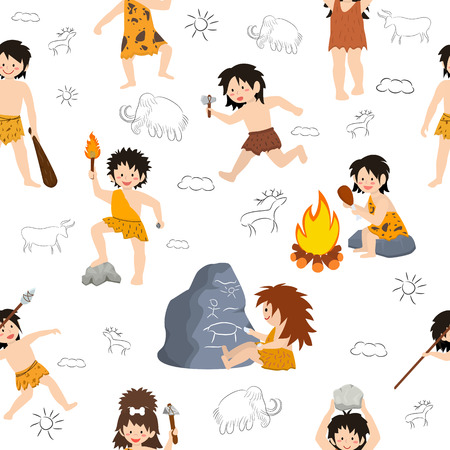 Caveman kids vector primitive children character and prehistoric child with stoned weapon on mammoth illustration set of ancient boy or girl in stone age isolated on white background.