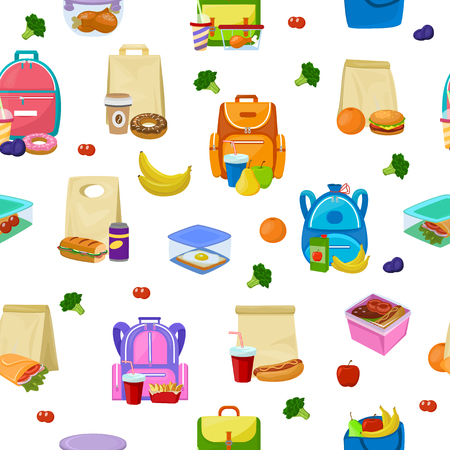 Lunch box vector school lunchbox with healthy food fruits or vegetables boxed in kids container illustration set of packed meal sausages or bread isolated on white background.
