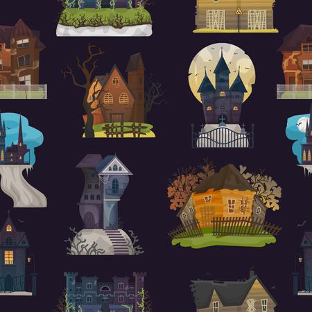 Château hanté de vecteur de maison effrayante avec un cauchemar d'horreur sombre et effrayant sur l'illustration de mystère au clair de lune d'halloween ensemble nocturne de motif de fond de bâtiment effrayant