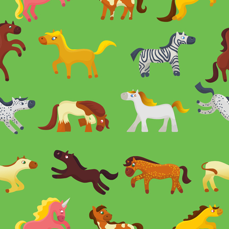 Cartoon horse vector cute animal of horse-breeding or kids equestrian and horsey or equine stallion illustration childly animalistic horsy set of pony zebra character background pattern Illustration