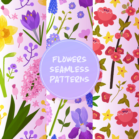Flowers and floral vector seamless pattern watercolor flowered greeting card invitation for wedding birthday flowering hydrangea iris spring backdrop set illustration background.