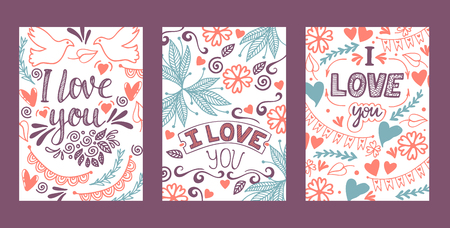 Love lettring vector lovely calligraphy lovable sign sketch iloveyou on Valentines day beloved card illustration backdrop set of love decor typography background 向量圖像