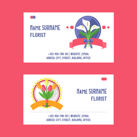 Bouquet vector business card beautiful floral backdrop with blossom flowers illustration flowery tulip on wedding birthday holiday flowering set of business-card background 向量圖像