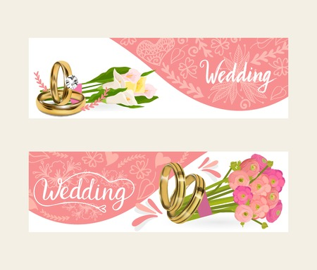 Wedding rings vector wed shop of engagement symbol golden silver jewellery for proposal marriage flowery sign flowered orchid business card backdrop illustration flowery set background