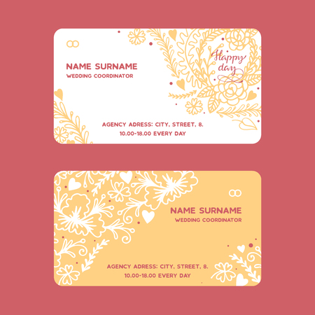 Wedding rings vector wed shop business card of engagement symbol gold jewellery for proposal marriage sign business-card backdrop illustration set background. Illustration