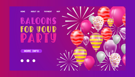 Ballooon vector web page celebrating birthday party anniversary cartoon kids happy birth holiday decoration backdrop festival balloons decor illustration landing web-page background. 向量圖像