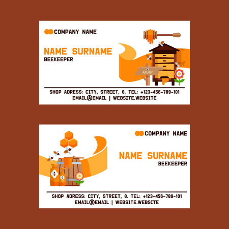 Honey sweet vector apiary farm beekeeping business card backdrop set honeymaker bee insect beeswax illustration business-card background.