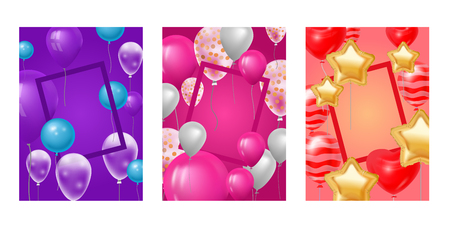 Ballooon frame vector celebrating birthday party anniversary cartoon kids happy birth holiday decoration backdrop festival balloons decor illustration background. Banque d'images - 124960788