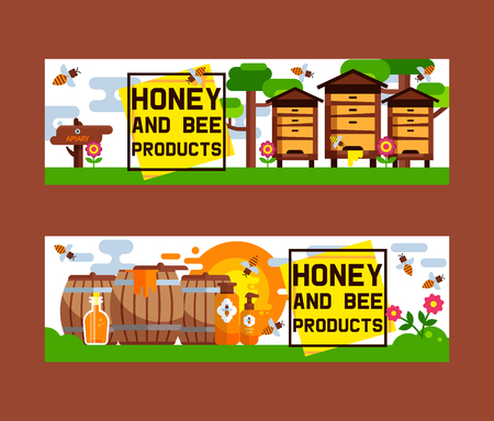 Honey sweet vector apiary farm beekeeping banner backdrop set honeymaker bee insect beeswax illustration background poster advertising.