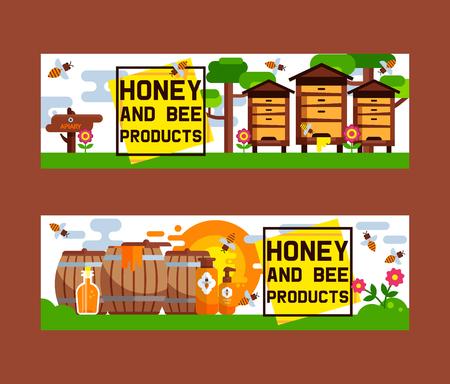 Miel doux vecteur rucher ferme apiculture bannière toile de fond ensemble miel abeille insecte cire d'abeille illustration fond affiche publicité.