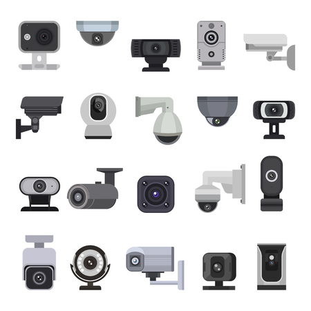 Security camera vector cctv control safety video protection technology system illustration set of privacy secure guard equipment webcam digital device isolated on white background. Ilustração