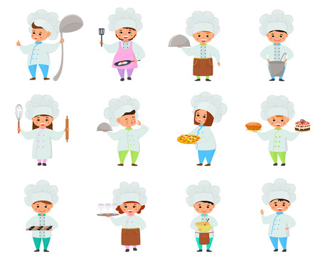 Cooking child vector children characters boy girl chef cooking food and baking cookies childish illustration kitchener set of kids preparing pastry in kitchen isolated on white background.