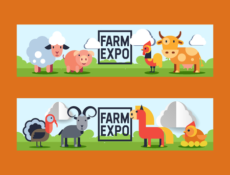 Farm animals vector domestic farming animalistic characters cow and sheep pig chicken farmer animals backdrop illustration set background banner.  イラスト・ベクター素材