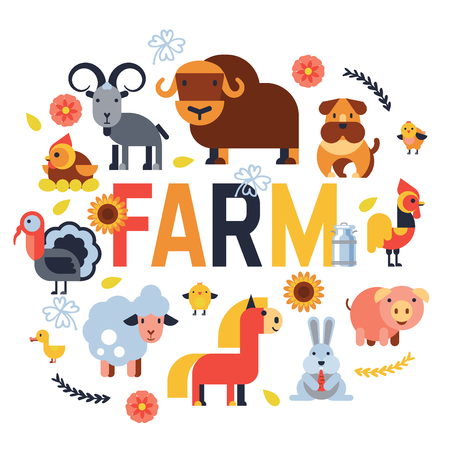 Animaux de ferme vector set caractères agricoles domestiques vache et mouton, cochon, dinde, chien, cheval et chat illustration d'animaux fermier isolé sur fond blanc.