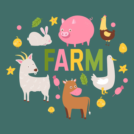 Farm animals vector set domestic farming characters cow and sheep pig horse and goat farmer animals backdrop illustration isolated on background.  イラスト・ベクター素材