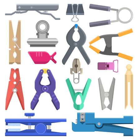 Clothespin vector clothespeg clothes-pin and office clamp clip holding tool pin for laundry illustration set of household clothes-peg isolated on white background. Фото со стока - 124850914