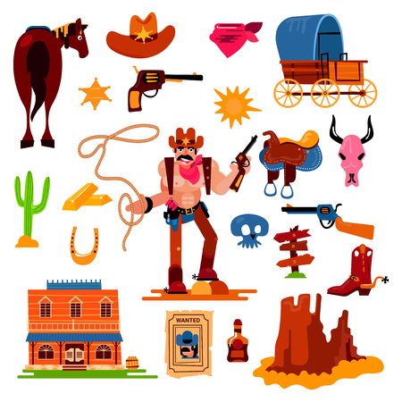 Wild west vector western cowboy character in wildlife desert with cactus illustration wildly sheriff in hat with gun on rodeo set isolated on white background.