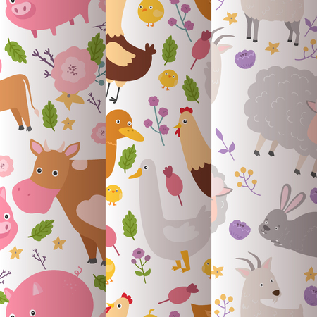 Farm animals vector seamless pattern domestic farming animalistic characters cow and sheep pig dog horse and chicken farmer animals illustration set background.  イラスト・ベクター素材