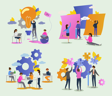 Creative people vector man woman character working together at office illustration set of teamwork ideas brainstorming team creating project design on meeting isolated on background