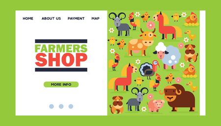 Farm animals vector landing we page domestic farming characters cow and sheep pig turkey dog horse farmer animals backdrop set illustration web-site background.
