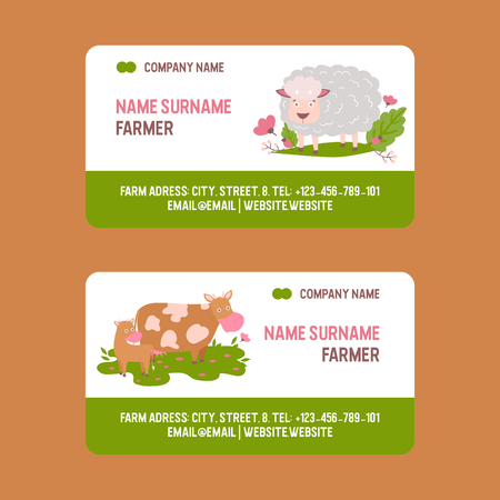 Farm animals vector business-card set domestic farming characters cow sheep goat cattle farmer animals illustration business card background.