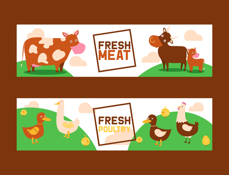 Farm animals vector domestic farming animalistic characters cow and sheep pig duck farmer animals backdrop illustration set background banner