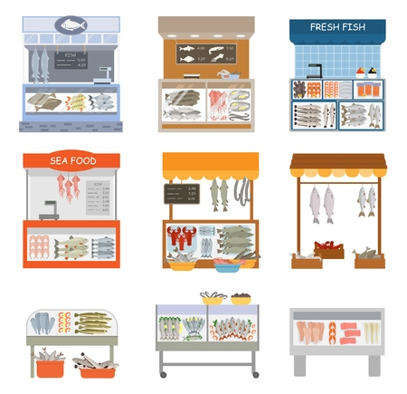 Fifh market vector fishstall fishstore illustration set of fishmongers fishmarket selling fresh marine food isolated on white background.