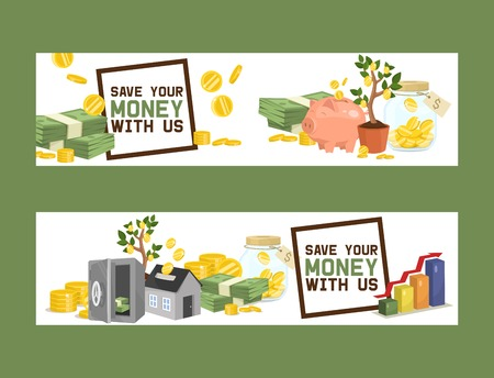Money vector piggy bank pig box financial bank or money-box with investment savings and coins set of backdrop illustration piggybank moneybox with cash background banner