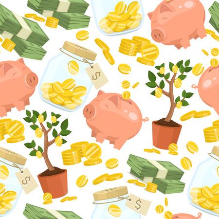 Geld Vektor nahtlose Muster Sparschwein Schwein Box Finanzbank oder Spardose mit Investitionseinsparungen und Münzen Hintergrund Illustration Sparschwein Spardose mit Bargeld Hintergrund.