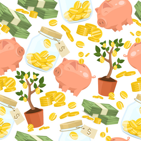Money vector seamless pattern piggy bank pig box financial bank or money-box with investment savings and coins backdrop illustration piggybank moneybox with cash background.