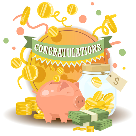 Money vector piggy bank pig box financial bank or money-box with investment savings and coins backdrop illustration piggybank moneybox with cash background. Çizim