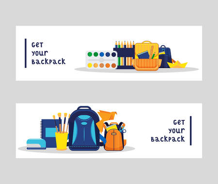 School supplies vector education schooling accessory for schoolchilds backdrop educational stationery for studying in classroom illustration set of background. Illustration