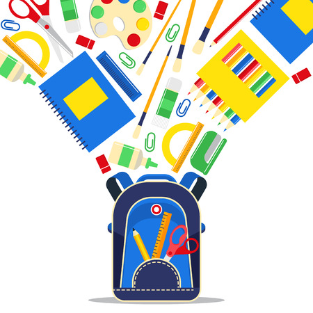 School supplies vector education schooling accessory for schoolchilds backdrop educational stationery for studying in classroom illustration background.