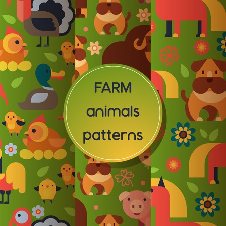 Farm animals vector seamless pattern domestic farming animalistic characters cow and sheep pig dog horse and chicken farmer animals illustration set background  イラスト・ベクター素材