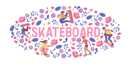 Skateboarders on skateboard vector skateboarding boy or girl characters backdrop teenager skaters jumping on board in skatepark illustration people skating background Vectores