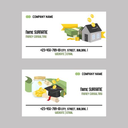 Argent vecteur tirelire carte de visite cochon boîte banque financière ou tirelire avec épargne d'investissement et pièces de monnaie ensemble d'illustration de fond de carte de visite tirelire tirelire avec bannière de fond de trésorerie.