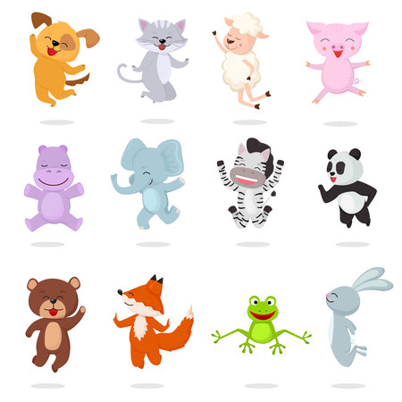 Kids animals vector cartoon animalistic characters dog cat baby piglet little panda illustration set of bunny jumping fox happy bear child isolated on white background. 일러스트